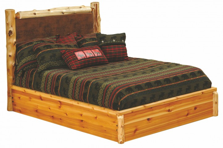 Cedar King Leather Upholstered Platform Bed