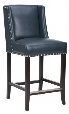 Marlin Blue Leather Counter Stool
