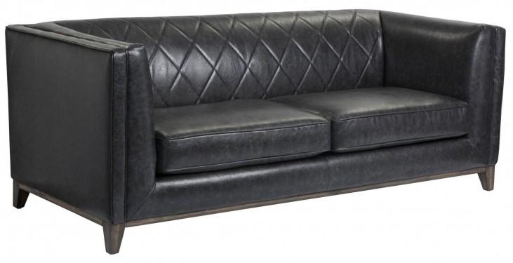 Salvatore Black Fog Leather Sofa