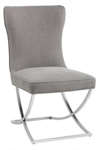 Rivoli Vintage Linen Grey Fabric Dining Chair Set of 2