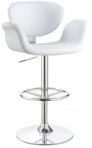 "29"" White Adjustable Bar Stool"