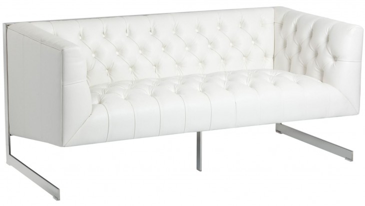 Viper White Leather Loveseat