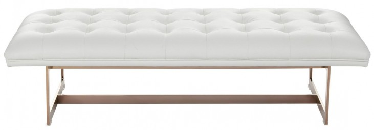 Matisse White Leather Ottoman