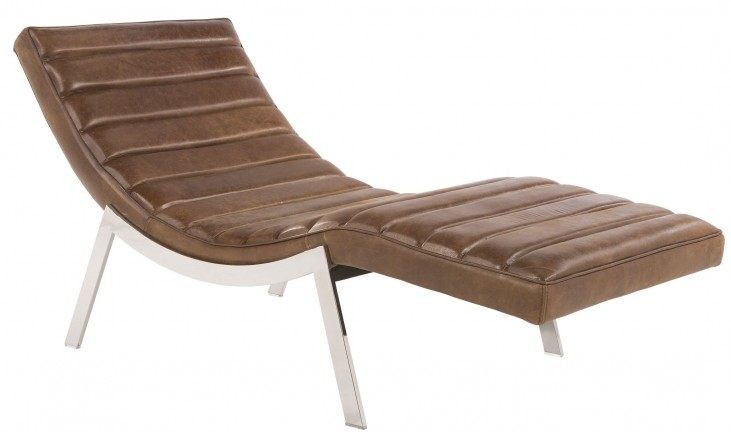 Benedict Profundo Sepia Brown Leather Chaise