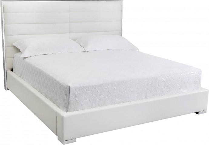 Avalon White King Upholstered Platform Bed