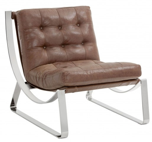 Tryst Profundo Sepia Brown Leather Chair