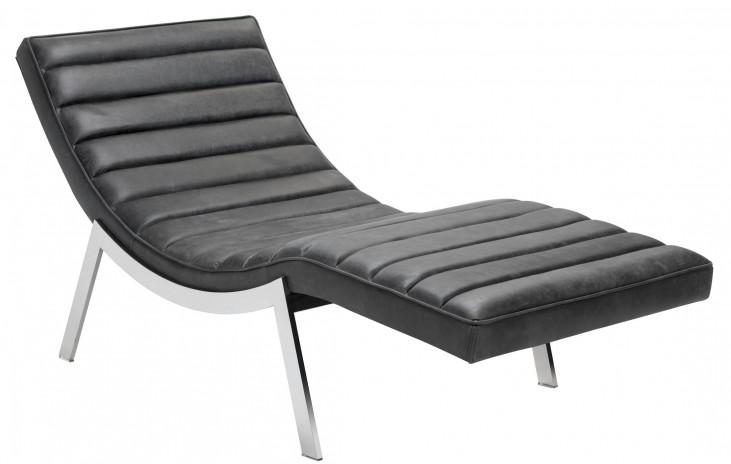 Benedict Profundo Black Leather Chaise