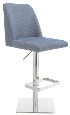 Piper Herring Bone Blue Fabric Adjustable Barstool
