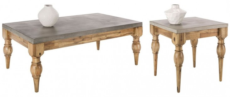 Louis Golden Distressed Occasional Table Set