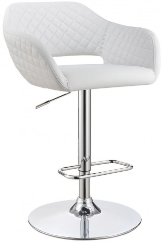 "25"" White Adjustable Bar Stool"