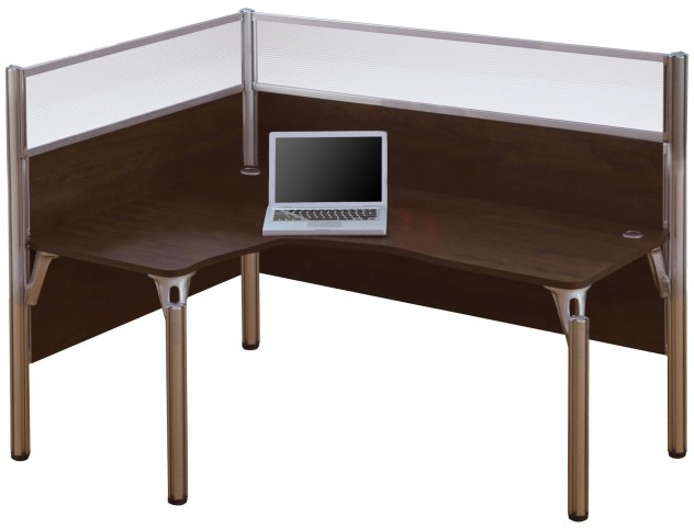 Pro-Biz Chocolate Left Single Glass Panel L-Desk