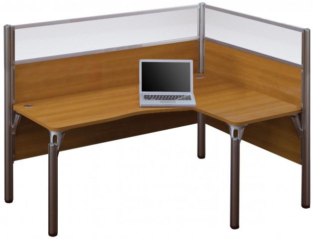 Pro-Biz Cappuccino Cherry Single Right Glass Panel L-Desk