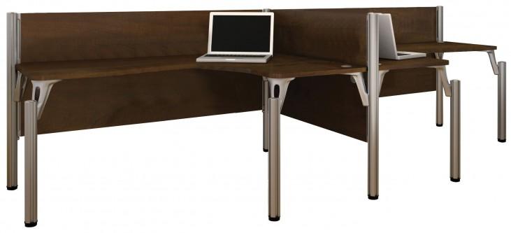 Pro-Biz Chocolate Double Side-by-Side L-Desk Workstation