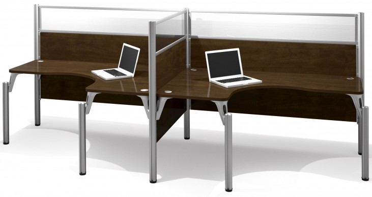 Pro-Biz Chocolate Double Side-by-Side Glass Panel L-Desk Workstation