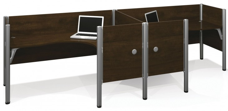 Pro-Biz Chocolate Double Side-by-Side Partition L-Desk Workstation