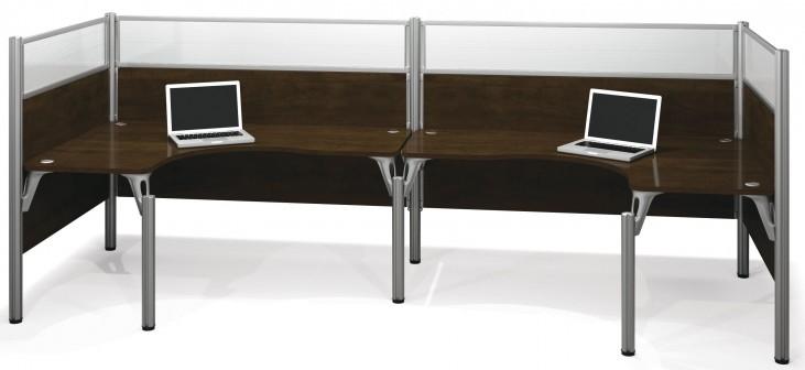 Pro-Biz Chocolate Double Back to Back Glass Panel L-Desk Workstation