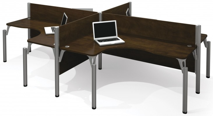 Pro-Biz Chocolate Four L-Desk Workstation