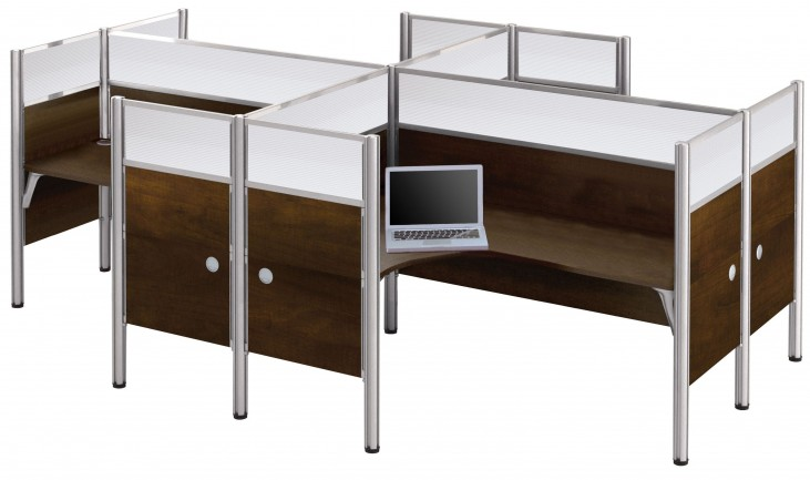 Pro-Biz Chocolate Glass Panel Four L-Desk Partition Workstation