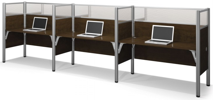 Pro-Biz Chocolate Triple Side-by-Side Mesh Workstation