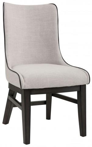 Aviva Beige Linen Fabric Dining Chair Set of 2