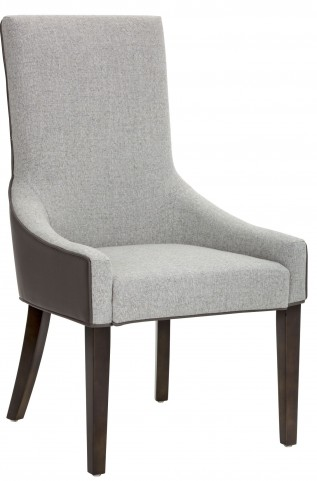 Vincent Dove Grey Leather and Marble Fabric Dining Chair