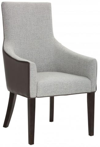 Vincent Dove Grey Leather and Marble Fabric Armchair