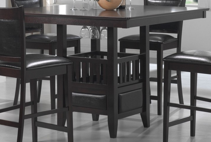 Jaden Square Counter Height Table With Center Storage Cabinet
