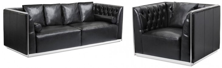 Maxime Black Leather and Polished Stainless Steel Frame Living Room Set