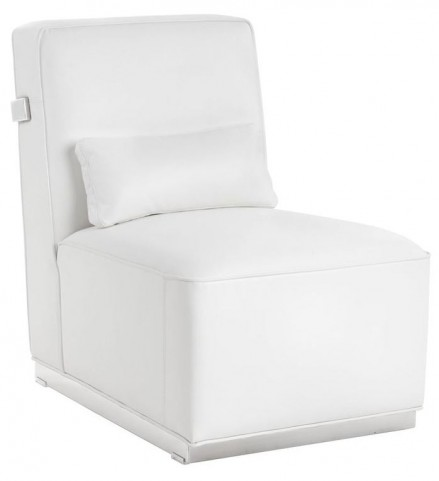 Brosnan White Leather And Polished Stainless Steel Chair