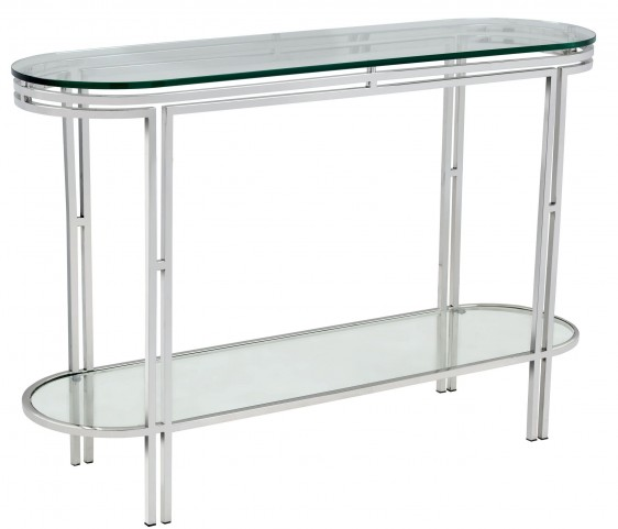 Andros Glass Top Console Table