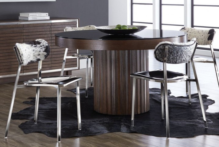 Jakarta Round Black Glass Top Dining Room Set