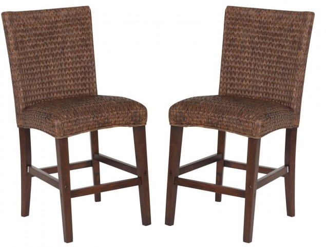 Westbrook Banana Leaf Brown Counter Height Chair Set of 2