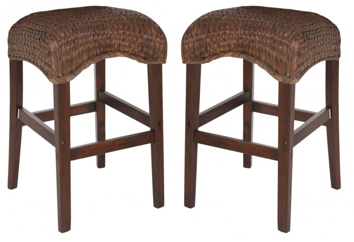 Westbrook Banana Leaf Brown Counter Height Stool Set of 2