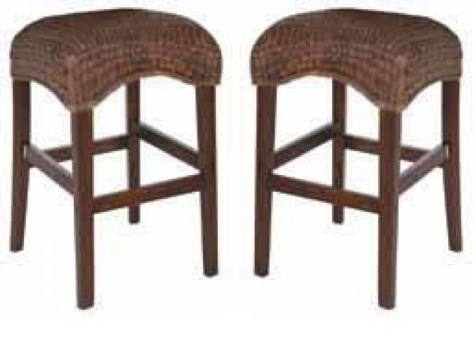 Westbrook Banana Leaf Brown Bar Stool Set of 2