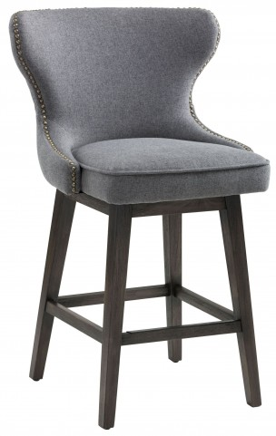Ariana Dark Grey Fabric Swivel Counter Stool