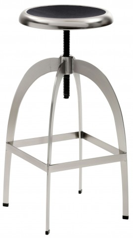 Colby Nickel and Black Adjustable Barstool
