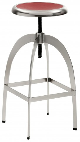 Colby Nickel and Red Adjustable Barstool