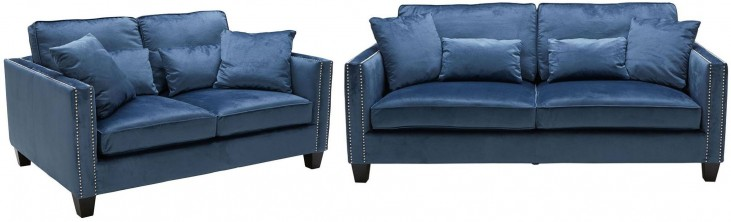 Cathedral Blue Ink Living Room Set
