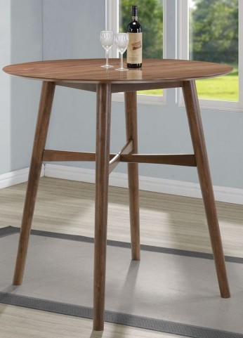 Natural Walnut Round Bar Table