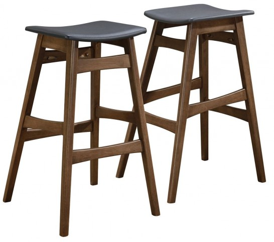 Dark Gary Leatherette Bar Stool Set of 2