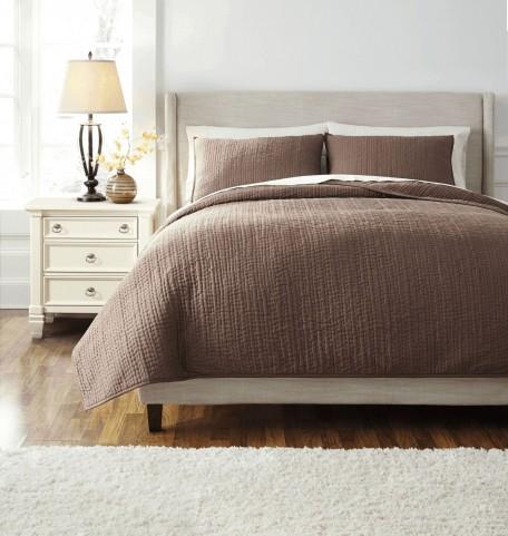 Stitched Browns Queen Comforter Set