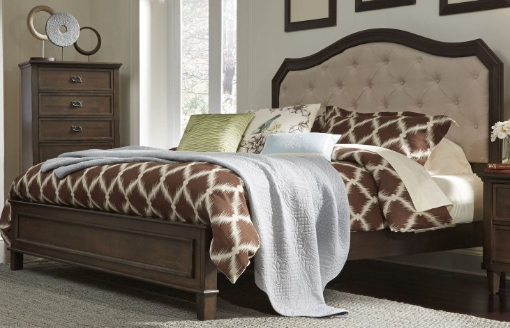 Berkley Heights Antique Washed Walnut Queen Panel Bed