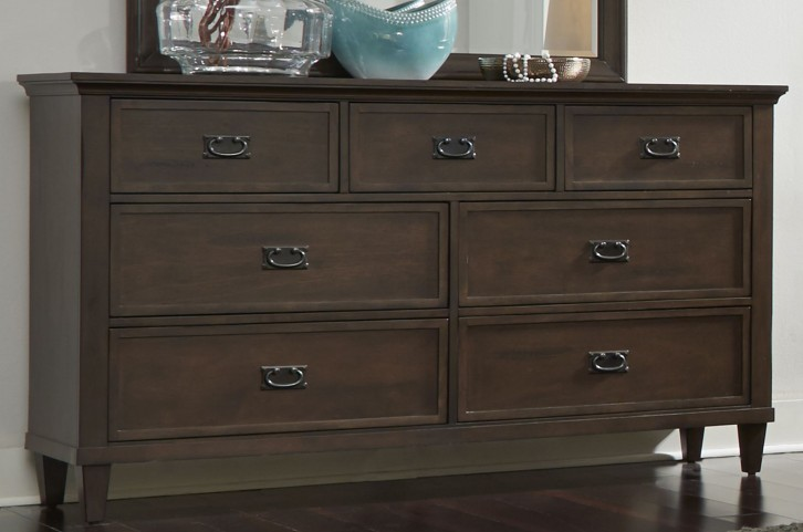 Berkley Heights Antique Washed Walnut 7 Drawer Dresser