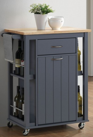 Natural and Dark Grey Kitchen Cart