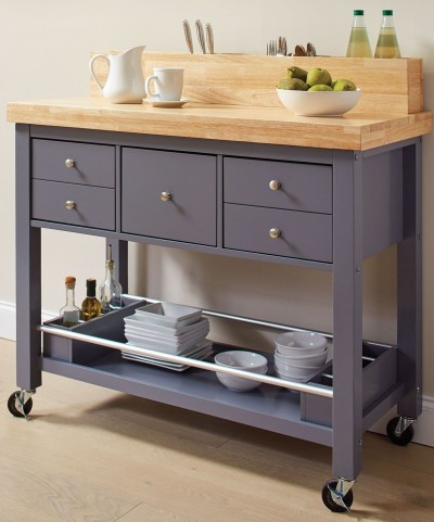 Natural and Grey Kitchen Cart