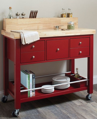 Natural and Red Kitchen Cart