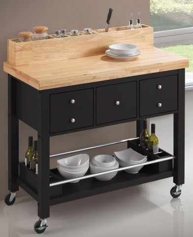 Natural and Black Kitchen Cart