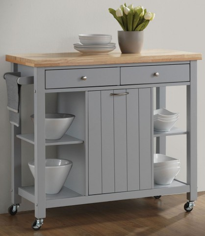 Natural and Light Grey Kitchen Cart