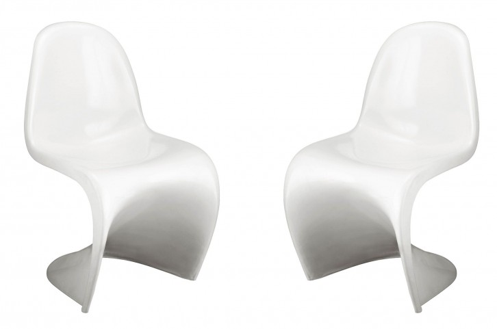 S Chair White Set of 2