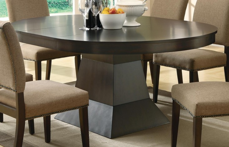 Myrtle Cappuccino Round Extendable Dining Table